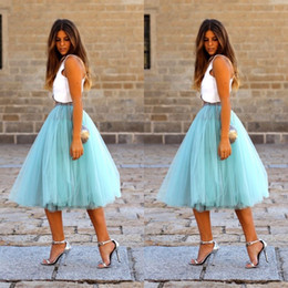 Wholesale Black Tulle Skirt Women - 2015 Sky Blue Short Skirts Custom Made Free Size A-line 4 Layers Tulle Adult Party Prom Skirt Cheap Petticoat Women Clothing