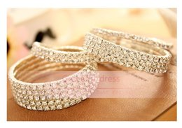 Wholesale New Arrivals Cheap Bangles - 2016 New Arrivals Bracelet Wedding Jewelry Fashion 1-5 Row Rhinestone Stretch Bangle Bracelet Hot Cheap Girls Party Bridal Accessories BJY01