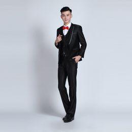 Wholesale Shiny Black Jackets For Men - Wholesale-Mens Fashion Brand Cocktail Tuxedos For Men Shiny Black Groom Bestman Wedding Suits Jacket Pants Gentleman Suit Trajes De Novio