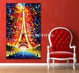 Wholesale Eiffel Canvas - Modern Palette Knife Oil Painting Romantic Eiffel Tower Bling Night Scene Picture Printed On Canvas For Home Office Wall Art Decor