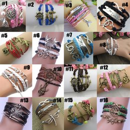 Wholesale Jewelry For Black People - chic Vintage HI-Q Jewelry fashion Mixed Lots Infinity Charm Bracelets Silver lots Style pick for fashion people E29J