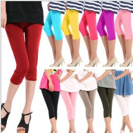 Wholesale Ladies Half Pants - Casual Women Ladies Seamless Yoga Solid Stretch Skinny Cropped To the Calf Legging Half Pants Free shipping Dropshipping