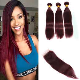 two tone brazilian hair red Coupons - 9A Brazilian Wine Red Hair With Closure 4Pcs Lot 99J Two Tone Brazilian Hair Weave Bundles With Straight 4x4 Lace Closure