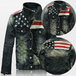 Wholesale Denim Jacket Men Leather Sleeve - New Mens American Flag Suit Jeans Jacket PU Leather Patchwork Vintage Distressed motorcycle Denim Jacket For Men coat