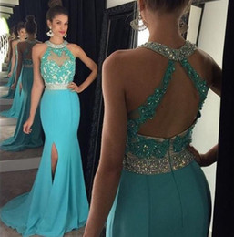 Wholesale Halter Black Dress Open Back - 2016 Sexy Prom Dresses Long Crystals Beaded Halter Neck Lace Appliques Bodice Open Back Mermaid Side Split Chiffon Party Gowns