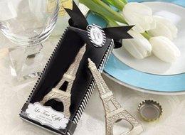Nueva novedad creativa fiesta de inicio elementos La torre Eiffel cromo abridor de botellas favorece la boda caja de regalo de embalaje envío gratis desde fabricantes