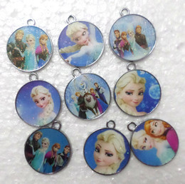 Wholesale Diy Jewellery Christmas Charms - Lot new 100 pcs circular frozen Metal Charms pendants DIY Jewellery Making crafts