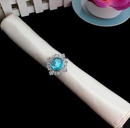 Titolari di anelli di tovagliolo blu online-20pcs rotonda blu portatovagliolo di cristallo anello portatovagliolo fibbia titolare hotel decorazione della festa nuziale favore decor