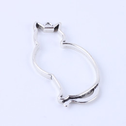Wholesale Bracelet Dog Tags - New fashion silver copper retro Cat shape pendant Manufacture DIY jewelry pendant fit Necklace or Bracelets charm 100pcs lot 5376