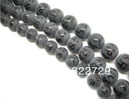 Wholesale Religious Halloween Crafts - Black stone semi-precious stones beads 8 10 12mm gilt Buddha Mantra beads loose beads DIY craft materials ruby beads