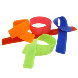 Wholesale Tv Cable Ties - Wholesale- 10pcs bag 180x21mm Colorful Reusable Magic Tape Ties Cord Lead Straps TV Computer Cable Wire Organiser Management Marker