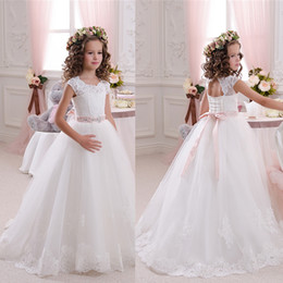 Wholesale Bohemian Style Lighting - Bohemian Princess Style Child Formal Party Evening Dress For Communion White   Ivory Appliques Beads Flower Girls Dresses For Weddings