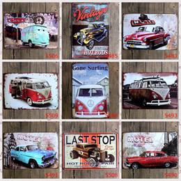 Wholesale Vintage Retro Shop - lastest 20*30cm retro vintage classic auto car Tin Sign Coffee Shop Bar Restaurant Wall Art decoration Bar Metal Paintings