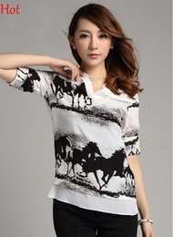 Wholesale Horses Chiffon Shirt - New Women Chiffon Blouse Long Sleeve Casual Ladies Clothing Vintage Black Horse White Shirt Sheer Summer V-neck Blouses Tops 2015 SV002223