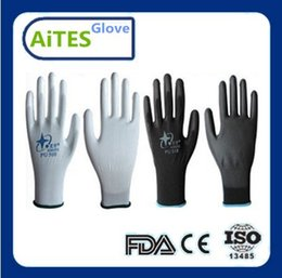 Wholesale Wholesale Black Gloves - Wholesale-AiTes 24pcs lot 12pairs High quality Cheap 13G PU Work Glove Palm Coated ,gloves Supplies Guantes trabajo factory price