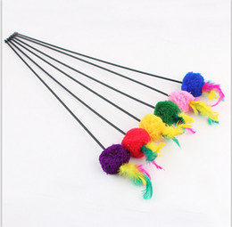 Wholesale Funny Lines - Wholesale-Free shipping pet toys flexible plastic pole with a line ball color feathers funny cat stick 55cm