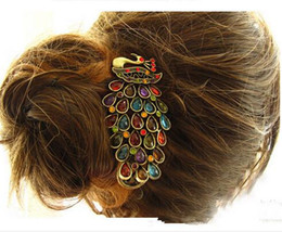 Wholesale Peacock Hair Barrettes - Women's Beauty Vintage Colorful Crystal Rhinestone Peacock Hair Pin Hair Clip Fashion Accessories Jewelry chea gift