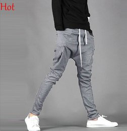 Wholesale Casual Baggy Trousers Men - 2015 Top Hot Fashion Harem Pants Trousers Men Casual Sweatpants Sport Mans Baggy Cargo Joggers Hip-hop Pants XXL-M Black Grey Trousers 16719