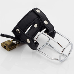 Wholesale Male Chastity Gear - Male Chastity Device PVC leather Ball Stretcher Penis Cage Bondage Gear TIGHT IMPALER SM Fetish