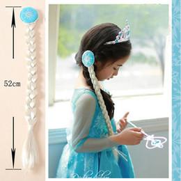 Wholesale Braided Ponytail Wig - Christmas party Frozen children hair accessories Elsa princess Anna wig braid gold sliver plait cosplay ponytail girl child's gift New