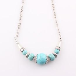 Wholesale Tibetan Turquoise Pendant - Ethnic Jewelry Natural Stone Turquoise Chain Necklace Handmade Tibetan Tribe Bib Statement Necklace Pendant Women N309