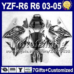 Wholesale Yamaha Silver Flamed Fairing - 7gifts+Body For YAMAHA YZFR6 03 04 05 YZF-R6 03-05 YZF-600 White flames not silver F9369 YZF600 YZF R6 YZF 600 2003 2004 2005 Fairing Kit