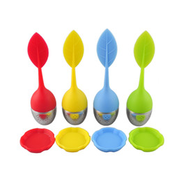 Wholesale Tea Trays Wholesale - Leaf Tea Infuser Stainless Steel Silicone Tea Strainers with Silicone Tray Silicone Tea Filter Bag Filter Coffee Tool 0702022