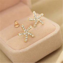 Wholesale Cheap Starfish Earrings - South Korea jewelry wholesale Korean version sweet earring cheap earrings full diamond starfish pentagram earrings B110