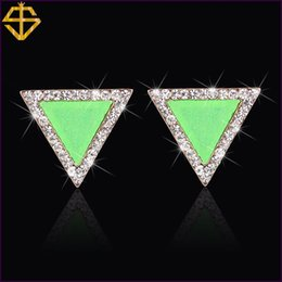 Wholesale Si Rhinestone Jewelry - SI 2015 New Listing Valentine's Day Gift 18K Gold Plated Fashion Jewelry Inlay Austrian Rhinestones Stud Earrings For Women