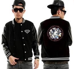 Wholesale black diamond jacket - 2017 new Autumn Diamond supply co Casual Hiphop Jackets Men Baseball leather sleeve Jackets 20 style Free Shipping