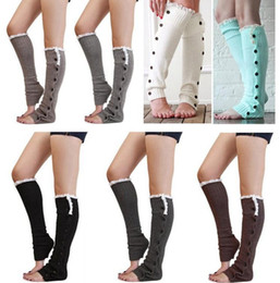 Wholesale Womens Winter Warm Leggings - free fedex ship Christmas womens boot socks leg warmers lace button winter Leggings Warm up knitted booty Gaiters foot cover knee high socks