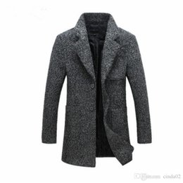 Wholesale Trench Coat Collar Up - New Fashion Long Trench Coat Men Winter Mens Overcoat 40% Wool Thick Trench Coat Male Jacket Free Drop Shipping China factory