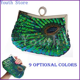 Wholesale Evening Party Ring - Wholesale-Youth Ring Clasp Women Sequined Party Handbag Fashion Peacock Feather Pattern Sequin Evening Bag Sequin Bridal Purse - S3385