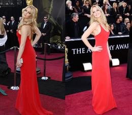 Wholesale Jennifer Lawrence Oscars - 2015 Jennifer Lawrence Sexy Floor Length A-line Scoop Spaghetti Strap Backless Chiffon Celebrity Oscar Dresses Or Evening Dress y01