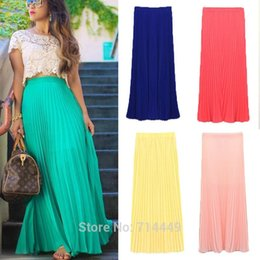 Wholesale Womens Long Chiffon Maxi Skirt - Spring Summer Pleated Long Chiffon Skirts Solid Ankle-Length Female Candy Color Pleated Maxi Womens Skirts Casual Beach Skirts A3A5