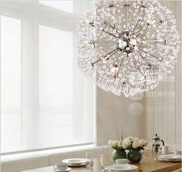 Wholesale European Led Crystal Chandeliers - droplight 47CM European Luxury Creative Dandelion LED Crystal Chandeliers Modern Minimalist K9 Crystal Pendant Light Living Room Lights