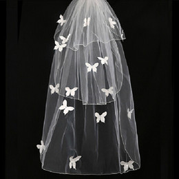 Wholesale Short Wedding Blusher - New Real Wedding Veils with Blusher 3 Layers Short Bridal Veil with Butterfly Appliques Bridal Accessories Ivory Tulle