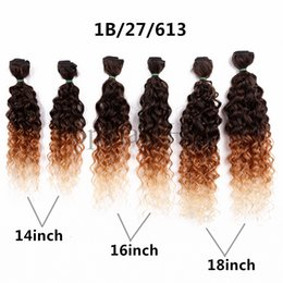 Wholesale Synthetic Peruvian Weave - 14 16 18 kinky Ombre brown marley braid hair kinky curly jerry curly Peruvian curly 6 Bundles Hair Weave African synthetic hair extensions