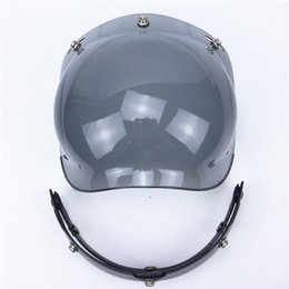 Wholesale Motorcycle Helmet Open Face Visor - wholesale free shipping New Flip up 3 snap Bubble Shield Visor 3 4 Open Face helmet glasses VINTAGE Motorcycle Helmet lens glass