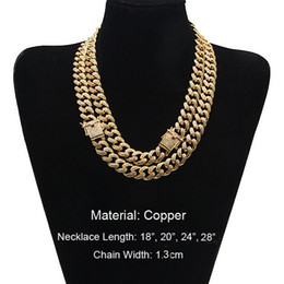 Wholesale Copper Castings - Top Quality Real Copper Casting Diamond MIAMI CUBAN LINK Necklace Hip Hop ICED OUT Bling Jewelry Men Curb Side Latch Clasp Chian 1.3 Wide
