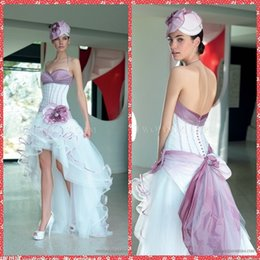 Wholesale Ladies White Dress Flowers - Halter A-Line White Lavender Women Wedding Dresses High Low Ladies Garden Summer Bridal Gowns Handmade Flowers Adorned Cheap Sale Hi-Lo 2016