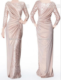 vestidos de noiva com pérola rosa mãe Desconto Custom Made Pérola Rosa Mangas Compridas Mãe de Noiva Vestidos de Noite Jóia Pescoço Elegante Chão Comprimento Plissado Formal Prom Vestidos