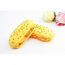 Wholesale Cat Food Free Shipping - Pets Dogs Toys Puppy Cat Chews Toys Pets Squeaky Sound Toys Rubber Hamburger Foods Toy For Pet Toys For Pets Free Shipping