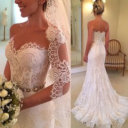 Wholesale Sweetheart Belted Waist Wedding Dresses - Glamorous 2015 Lace Mermaid Wedding Dresses Polyester Boning Sheer Waist Sweetheart Neckline Beaded Belt Bridal Gowns with Court Train 2016