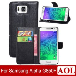 Wholesale Galaxy Cell Phone Wallets - Cell phone case for samsung galaxy Alpha G850F leather case Wallet Style With credit card Slots Stand 9 colors choice G850