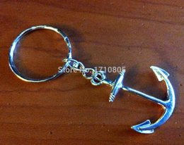 Wholesale Metal Fairy Charms - 2017 New 50pcs Fashion Jewelry Vintage Silver Anchor Key Ring Trace Chains Charm Platen Keychain Gifts Fit DIY Key Chain Holiday Gift A827