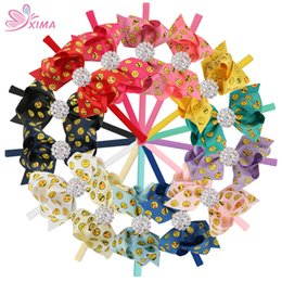 "Wholesale Mixed Grosgrain Ribbon Printed - XIMA 14pcs lot 4""Smile Printed Grosgrain Ribbon Rhinestone Bows with Diamond Nylon Headband Hair Accessories Free Shipping"
