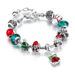 Wholesale Bracelets Santa Claus - 2017 Christmas Bracelet Gift With Santa Claus Charms Jewelry 925 Silver And Glass Beads Fit European Bracelet AA78