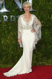Wholesale Helen Mirren Red Carpet Images - 2015 Tony Awards Red Carpet Helen Mirren Celebrity Dresses Lace Mother Of The Bride Dresses V Neck Long Sleeves White Beads Evening Gowns