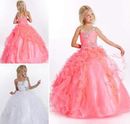 Wholesale One Sleeve Pageant - Cheap One Long Sleeve Beading Ruffle Tulle Satin Flower Girl Dress Little Girl Pageant Dress Flower Girls Dresses for Wedding